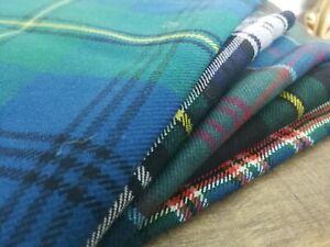 Green Tartan Bundle Remnants, Patchwork Cloth, 100% British Wool 100g