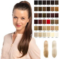Long Straight Drawstring Clip in 24″ Hair Ponytail Pony Tail Extension Tulip