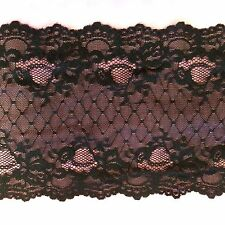 """stunning floral black  6"""" wide stretch lace by 3 yard lot for lingerie wow!"""