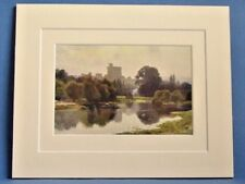 WINDSOR CASTLE FROM FELLOWS' EYOT ETON VINTAGE DOUBLE MOUNTED WATER COLOUR PRINT