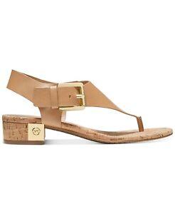 NEW Michael Kors Size 7 London Thong Block Heel Sandals Peanut Tan Gold MK Logo