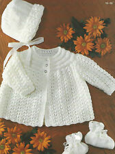 "Baby Matinee Coat, Bonnet, Bootees Knitting Pattern18-19"" Double Knitting 384DK"