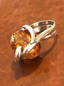 Baltic Amber Stirling Silver Ring 925 Bold Nugget Double Band Twist Size (Q) New