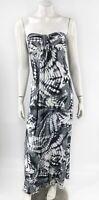 Hula Honey Maxi Dress Size Medium Gray White Tie Dye Strapless Long Beach Womens