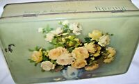 Antique Hinged Tin Box Yellow Roses Design Milady Assorted Chocolates England