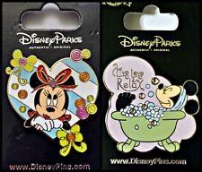 Disney Parks 2 Pin Lot Minnie Mouse Heart Buttons + Bathtub Live Love Relax