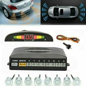 Front and Rear 8 Sensors Car Reverse Parking Kit Buzzer Alarm LCD Display Silver