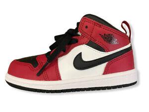 Nike Air Jordan 1 Mid Chicago Bulls New Black Toe Sneakers 8C Toddler 640735-069