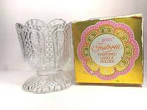 Vintage Avon Fostoria Clear Glass Candle Holder Flowers Diamond Cut Orig Box