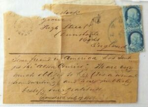 UNITED STATES 1858 WRAPPER FROM ALTON TO ENGLAND FORWARDED DUNSTABLE & CHARGED