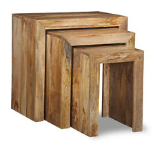 SOLID MANGO WOOD NEST OF 3 TABLES (H9L)
