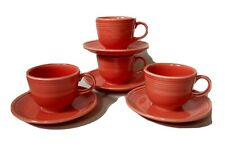 Set of 4 FIESTA Persimmon Teacups & Saucers Homer Laughlin Fiesta Ware