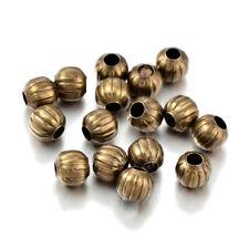 100 Iron Corrugated Metal Beads Antique Bronze Nickel Free Loose Spacers 6mm DIA