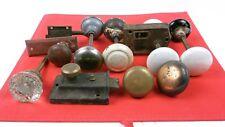 Antique/Vintage Door Knobs, Glass, Brass, Porcelain, Metal, Set of 9