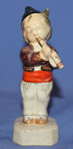 Vintage Handcradfted Folk Pottery Ceramic Child Flutist Figurine