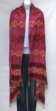 Yak Wool Blend|Shawl/Throw|Handloomed|Nepal|Reversible|Red/Orchid/Tan/Purple/Bl