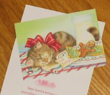 Vtg Cat Christmas Cards Napping Kitten Milk and Cookies For Santa 6ct