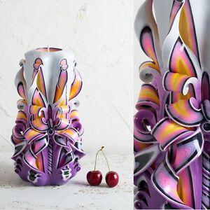 Make Carved Decorative Candles DIY Boho Purple Rainbow Handmade Set EveCandles