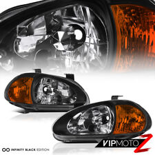 1993-1997 Honda Civic Del Sol 1.6L Vtec Si Black 1PC JDM Corner Lamps Headlights