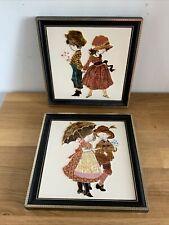 More details for vintage framed tiles majolica maw & co 1970s ceramic hand painted