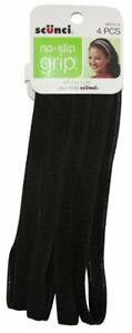 SCUNCI - No-Slip Grip Headwraps Black 1.5 cm - 4 Pack