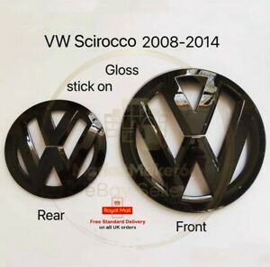 VW Volkswagen Scirocco MK3 Gloss Black Badge Front and Rear 2008-2014 (Cover)