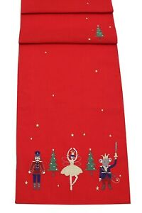 """Nutcracker Embroidered Christmas Table Runner 14"""" x 75"""" - Red/Multicolour"""