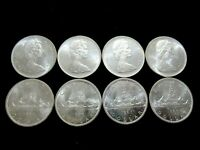 SILVER INVESTMENT LOT: 8 Large Silver Canadian Dollars, Gorgeous UNC. Gem Coins