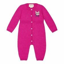 Gucci Baby Girl 3-9 Month Deep Cerise Cat Printed Pajamas One Piece