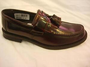 Polished Leather Tassel Toggle Saddle Loafer Oxblood Black MOD Tassle Mens 70s