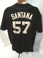 New York Mets MLB Mens Majestic #57 Santana Sewn Black Jersey Fits Like XL 0818