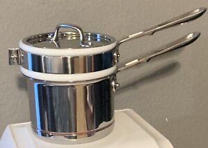 All-Clad 2 Qt Stainless d5 Saucepan, Double Boiler Porcelain Insert & Lid