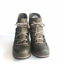 SOREL Womens Size 8 Sandy Wedge Booties Nori Olive Green Leather EUC