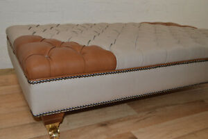 Extra Large Footstool- Cream & Brown Faux Leather - Deep Crystal Buttoning