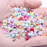 Half Pearl Round Flatback Resin Imitation Pearls Beads DIY Nail Art Jewellery