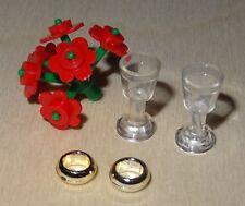Nr.3387 Lego Minifig  Brautpaar geflochtener Zopf Strauß rot Gläser und Ringe