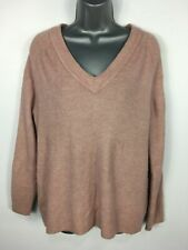 WOMENS H&M VINTAGE PINK KNITTED V-NECK JUMPER SWEATER PULLOVER SIZE EU SMALL
