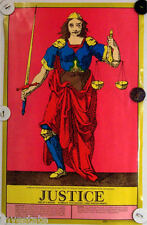 US Game Systems 1970 Vintage Tarot Cards Poster Justice Printed in USA Fortune