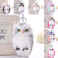 Women Owl Faux Fur Fluffy Handbag Car Keyring Pendant Keychain Soft Gifts Supply