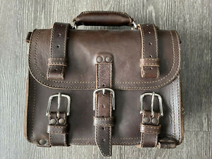 Saddleback Leather Small Dark Brown Leather Coffee Briefcase