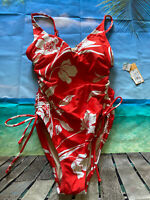 H18 Kona Sol Floral Side-Cinch High Coverage One Piece Swimsuit Medium NWOT 6202