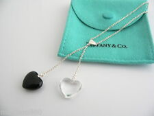 Tiffany & Co Silver Onyx Crystal Gemstone Two Heart Dangle Necklace Pendant Rare