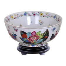 "Chinese Tobacco Leaf Porcelain Bowl w Base 12"" Diameter"