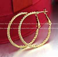 18K YELLOW WHITE GOLD GF WOMENS GIRLS TWISTED HOOP HUGGIES SLEEPER EARRINGS GIFT