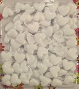 Double-sided small white heart barrettes (Snaps) for braids, twists, etc