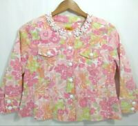 Ruby Rd. Pink Print Waist Jacket Blazer Womens 8P Petites Beaded Neck 3/4 Sleeve