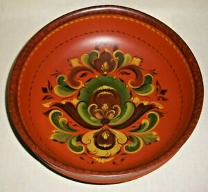 "VINTAGE NORWEGIAN ROSEMALING WOOD BOWL WITH SAYING 4"" TALL 12"" ACROSS"