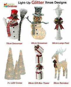Light Up Christmas Decoration Glitter Reindeer Snowman Lamp Post Tree Cones