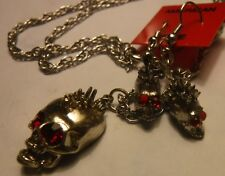Spiked Skull Necklace & Earring, with Red Crystal eyes, Vintage, Silver?