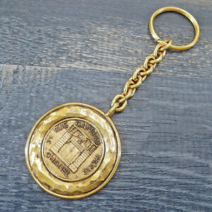 CHANEL Gold Plated CC Logos Cambon Vintage Keychain Key Ring #6540a Rise-on